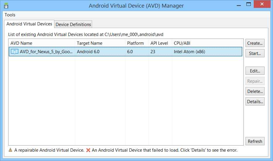 Screenshot Android AVD Manager