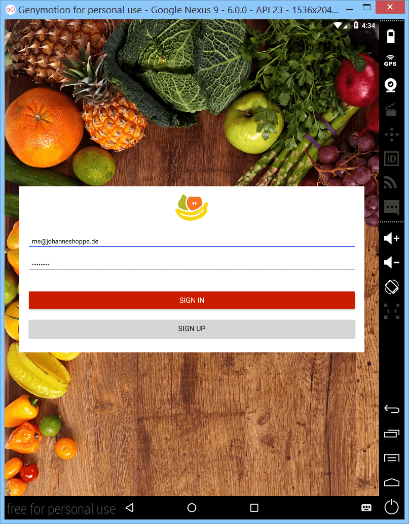 Screenshot Genymotion Groceries